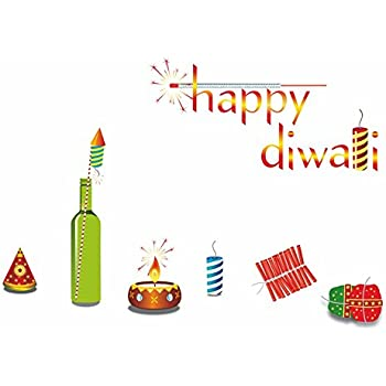 "Happy Walls""Happy Diwali"" with Diya Lamps & Crackers Pataka, Rocket (Wall Coverage 69 cm (H) x 96 cm (W) Wall Stickers Decals (50703)"