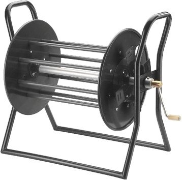 MONACOR MCR-8 professionelle Leer-Trommel in einer robusten, bühnentauglichen Ausführung für Kabel bis 200 m, leere Kabel-Trommel aus Metall mit Stahlrohrgestell, in Schwarz