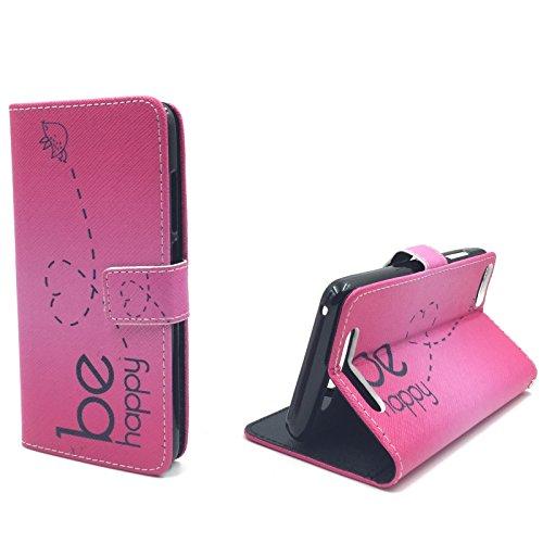 König-Shop Schutz-Tasche für Wiko Jerry Smartphone Klapphülle Be Happy Design Pink