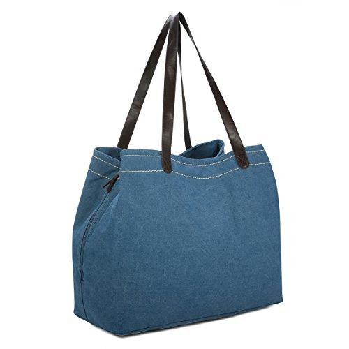 Damen Canvas Schultertasche, Gracosy Vintage Handtasche Umhängetasche Shopper Tasche Leinentasche Totes Hobo Bag für Arbeit Schule Reise Blau -