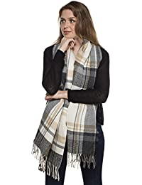 Ladies Mellisa Plaid Check Large Square Warm Thermal Winter Blanket Scarf Shawl