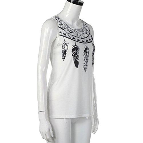 OverDose Damen Oberseiten T Shirt lose und Weiseblusen lange Hülsen Bluse Weiß