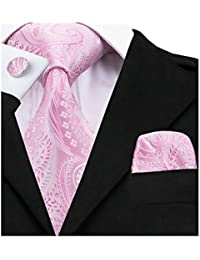 Barry.Wang Ties for Men Flower Tie Set Silk Handkerchief Cufflinks Wedding Party