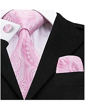 Barry. Wang elegante Floral Seda Corbata Set pañuelo Gemelos