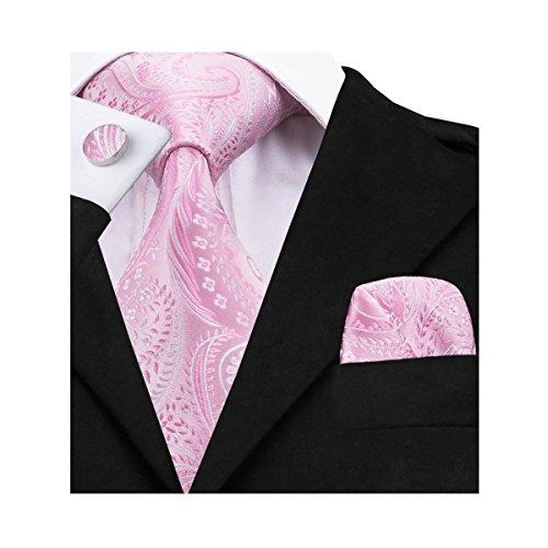 Conjunto de Barry.Wang, de gemelos, pañuelo para bolsillo y corbata, de seda, con elegante estampado floral, para hombre Rosa rosa Talla única