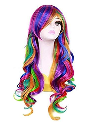 - Lockigen Langen Regenbogen Perücke Für Erwachsene