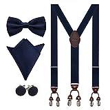 Aissy Hosenträger für Herren 3.5cm Y-Form Elastisch und Längenverstellbar Hosenträger Breit mit 6 starken Clips und Fliege & Einsteckuch,Blau 1