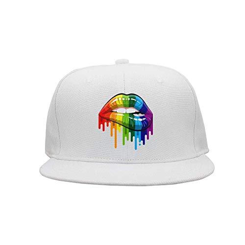 dfegyfr Unisex-Hut + Baseballmütze + Papa-Hut + Baseball-Mütze - Homosexuell Homosexuell Lesben Rainbow Lips Pride Design9