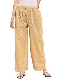 Trendy Attirez Cotton Full Chikan Plazzo Pant - Beige (Free Size- From Medium To XL)