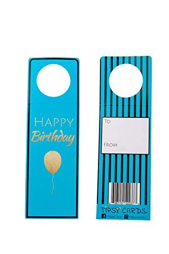 er für Weinflaschen, für alle Anlässe, Hochzeiten, Geburtstage, Abschlüsse Happy Birthday Blue ()