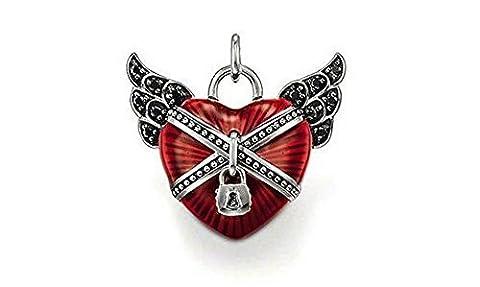 [PENAR54]Pendentif plaqué argent 925/1000 coeur rouge ailes cadenas