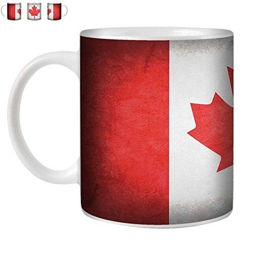 STUFF4 Tasse de Café/Thé 350ml/Canada/canadien/Drapeaux Vintage/Céramique Blanche/ST10