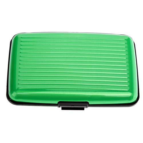 Yardwe Tragbarer Kreditkarteninhaber wasserdichtes Aluminium 6-Slot Business-ID Kreditkarteninhaber Geldbörse Schutzhülle (grün) -
