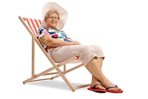 Amazinggirl Liegestuhl klappbaraus Holz Liege – Relaxliege für Garten Balkon Gartenliege Strandstuhl rot grau schwarz gestreift