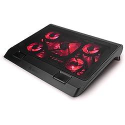 ENHANCE Support Refroidisseur PC Portable, Plaque de Refroidissement de 5 Ventilateurs avec LED Rouges et 2 Ports USB - Compatible avec Ordinateur Portable et Notebook de 19 Pouces - Dim: 40 x 32.4 cm