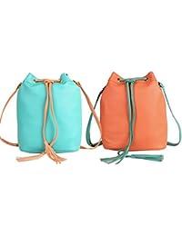 Lychee Bags Girls Pack Of 2 PU Sling Bag (CMB2_LBHBPU76P_LBHBPU76G)