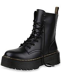 4c26c7029db661 SCARPE VITA Damen Stiefeletten Plateau Boots mit Blockabsatz Profilsohle