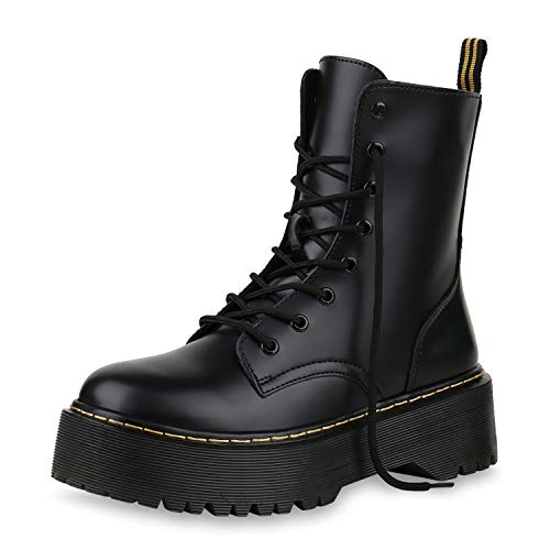 SCARPE VITA Damen Stiefeletten Worker Boots Plateau Stiefel Punk Grunge Schuhe 173728 Schwarz ()