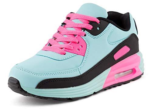 Fusskleidung Unisex Damen Herren Sportschuhe Übergrößen Laufschuhe Turnschuhe Neon Sneaker Schuhe EU Hellblau Schwarz Pink 39