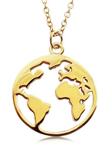 VIASOUL® Halskette für Damen I Weltkarte aus 925er Silber mit 585er Gold überzogen I Die Original Weltkugel Kette (Gold)