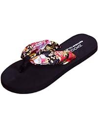 Rawdah Mujeres Sandalias de verano Zapatillas de interior al aire libre Flip-flops zapatos de playa (37, marrón)