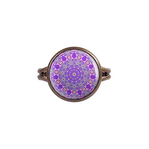 Mylery Ring mit Motiv Kaleidoskop Caleidoscope Bunte Farben Abstrakt Muster Nr. 9 Bronze 14mm -