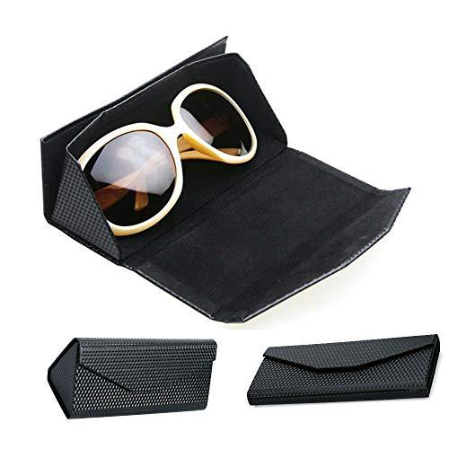 TKSTAR Damen Herren Brillenetui Sonnenbrille schützende Reißverschluss Hard Case,tragbare Faltbare Brillenetui,Sonnenbrillen Box,Dreieck Falten Flat Kreatives Design Falten Fässer Gläser GB01 Schwarz