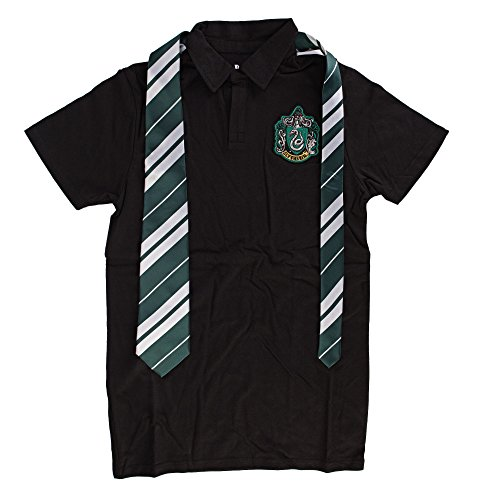 Harry Potter Slytherine Schwarz Kostüm Uniform Polo with Tie (XX-Large)