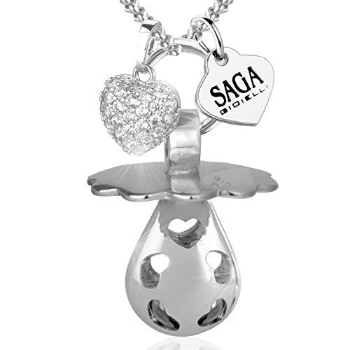 Saga gioielli collana chiama angeli bola messicana ciuccio charm cuore swarovski elements acciaio inossidabile