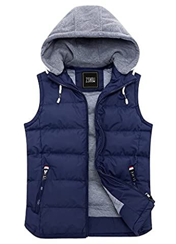 ZSHOW Men's Winter Down Vest With Hoodie Insulated Jackets(Dark Blue,Large)