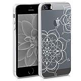 kwmobile Coque Apple iPhone Se / 5 / 5S - Coque pour Apple iPhone Se / 5 / 5S - Housse de téléphone en Silicone argenté-Transparent