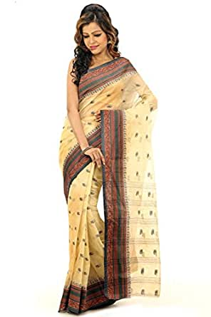 Bengal Handloom Saree Cotton Saree (Htsa133_Cream)