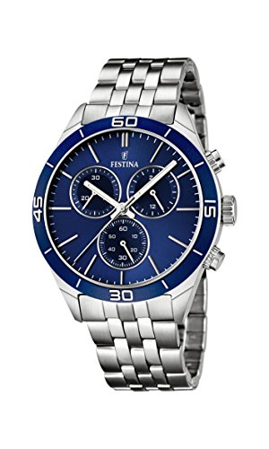 Festina Men's Quartz Watch with Blue Dial Chronograph Display and Silver Stainless Steel Bracelet F16762/2