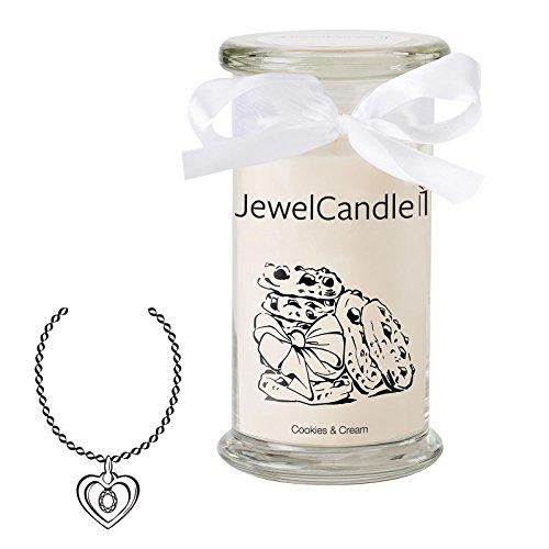 Jewelcandle cookies & cream - candela in vetro con un gioiello - candela profumata bianca con una sorpresa in regalo per te (collana in argento, tempo di combustione: 90-125 ore)