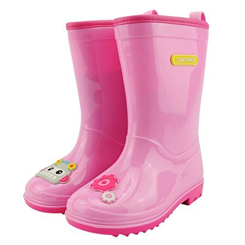 ZJOUJ Regenstiefel- Kinder Outdoor rutschfeste umweltfreundliche Gummi Regen Stiefel, Studenten Mode Cartoon wasserdichte Regen Stiefel (Farbe : Pink, größe : 33 yards) (Jungen Stiefel Regen Spiderman)