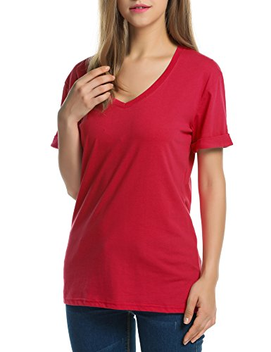 cooshional Damen Lose Fit Bluse Sommer Oversize T-Shirt Kurzarm Shirt Fledermaus Schulterfrei Oberteile Rot