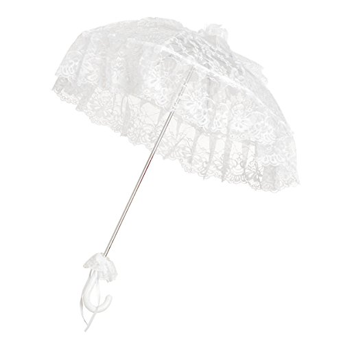 Graziler Weißer Hochzeitsschirm aus Chiffon - Prinzessin Weiß Metall Baldachin