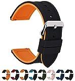 Fullmosa 18mm 20mm 22mm 24mm Bracelet Montre en Silicone Souple, 8 Couleurs Rainbow Bracelet de Montre Caoutchouc de Silicone à Libération Rapide, 20mm Noir Dessus/Orange Citrouille Dessous