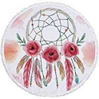 Romántica Pluma de ensueño Atrapasueños Bohemio Manta de Toalla de Playa Redonda de Microfibra, diseño