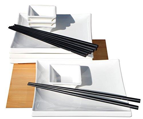 Set per sushi per 4 persone, quadrato, in stile giapponese, in ceramica bianca