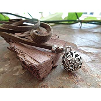 ✿ WUNDERBARE KLANG KUGEL GLOCKE ROBUST UND EINMALIG ✿ Hippie Kette aus moosgrünem Velour