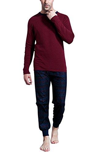 Dolamen Herren Schlafanzug Schlafanzughosen, Baumwolle Druck Lang Zweiteiliger Pyjamas Frühling, Herren Schlafanzug mit Überprüfen Sie geknöpftes Hemd Kragen mit Tasche M L XL Rot