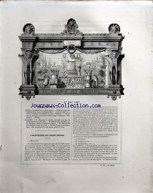 MONITEUR DES ARCHITECTES (LE) [No 5] du 01/05/1867 - L'ARCHITECTURE AUX SALONS ANNUELS - EXPOSITION UNIVERSELE - LA FAIENCE ET LES VITRAUX AU CHAMP-DE-MARS - A LYON - CONCOURS POUR LA CONSTRUCTION D'UN PALAIS DE JUSTICE A ALGER - DECORATION DE PLAFOND - ECOLE ITALIENNE DU 18EME - HOTEL DU PRINCE NAPOLEON AVENUE MONTAIGNE - HOTEL-DE-VILLE DE LA ROCHELLE - PAVAGES EN MOSAIQUES A ROME - EXPOSITION UNIVERSELLE - RUSSIE - MARCHE PUBLIC A GRENELLE PARIS - M. A. NORMAND