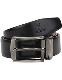 K London Men Formal,Casual Black Brown Reversible Genuine Leather Belt