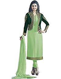 Ethnic Wings Women Satin Georgette Anarkali Semi-Stitched Salwar Suit (EW& ET_ER10781_Light Green _Free Size)
