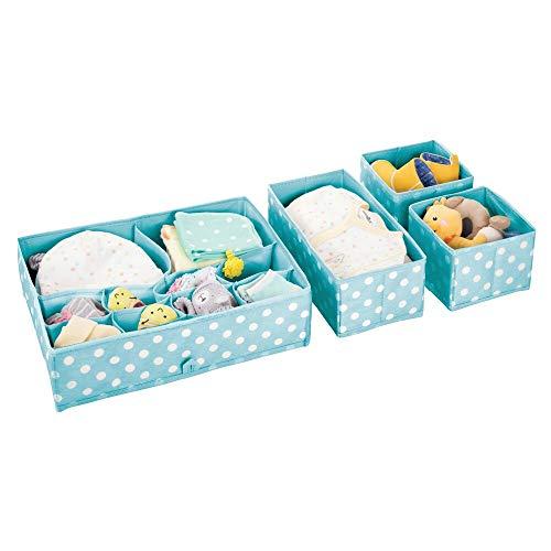 ewahrungsboxen Kunststoff - Schubladenboxen mit verschiedenen Fächern - Kinderschrank Schubladen Organizer für Kleidung, Kosmetik, Windeln, Tücher, Lotion etc. - türkisblau/weiß ()