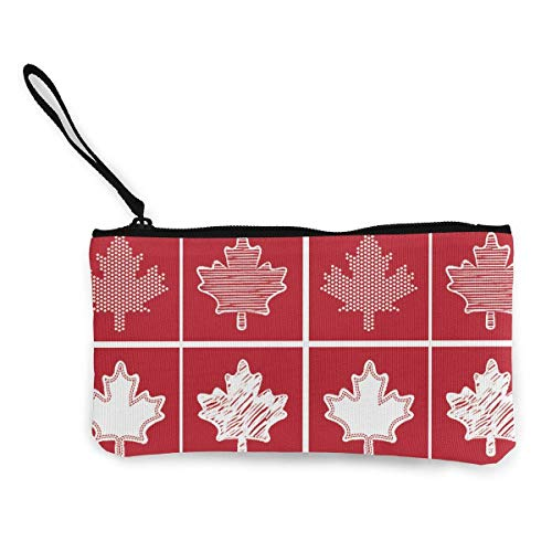 TTmom Damen Leinwand Geldbörse Portemonnaie Geldbeutel, Canadian Flag Canada Maple Leaf Pattern Canvas Change Coin Purse Retro Money Bag with Zipper