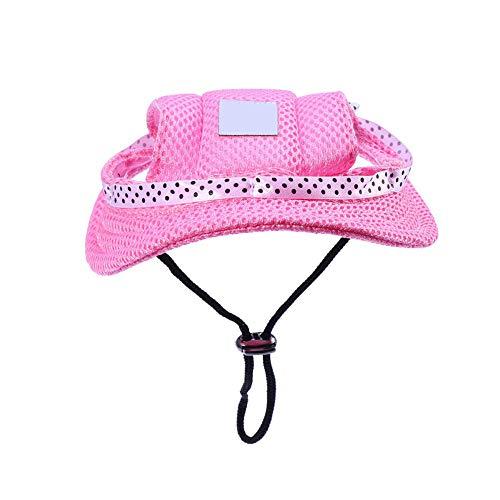 AAGOOD Cap de ala Redonda para Mascotas Gorra con Visera del Sombrero del Perro casero Malla porosa Sol con Agujeros de Las Orejas para Perros pequeños o Gatos Rosa S