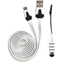 Emartbuy® Duo Pack Für Odys Neo Quad 10 Inch Tablet - Weiß Metallic Mini Stylus + Weiß Flach Anti-Tangle Micro Usb Sync Übertragen Von Daten Und Ladekabel