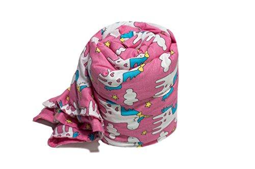 TherapieDecke - Einhörner Gewichtsdecke - Schwere Decke für Kinder/Jugendliche mit Schlafproblemen und Funktionsstörungen, Größe: 90x120 cm, 2 kg